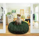 Bessie + Barnie Signature Classy Plain Luxury Extra Plush Faux Fur Bagel Dog & Cat Bed, Green, Large