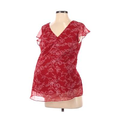 Motherhood Short Sleeve Blouse: Red Floral Tops - Size Small Maternity