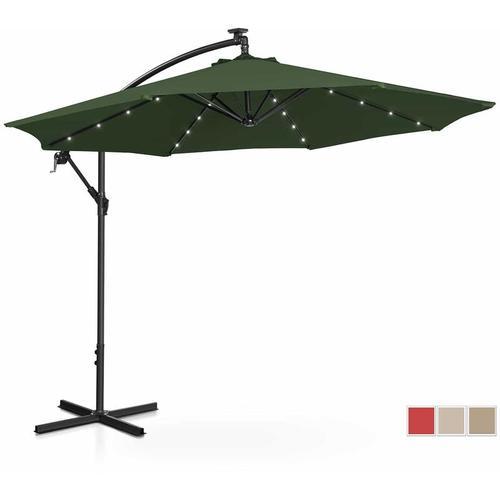 Sonnenschirm Ampelschirm mit LED UNI_UMBRELLA_R300GRL Gartenschirm (rund, Ø 300 cm, neigbar, grün)