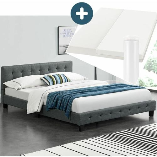 Artlife - Polsterbett Manresa 140 x 200 cm - Bett Komplett-Set mit Matratze, Lattenrost und