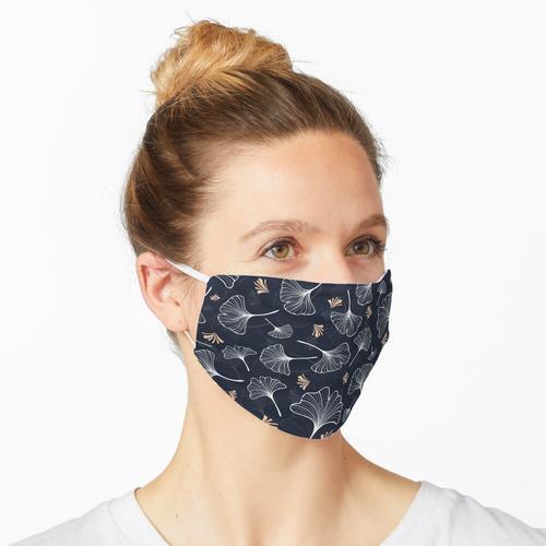 modernes Ginkgomuster der Marine Maske