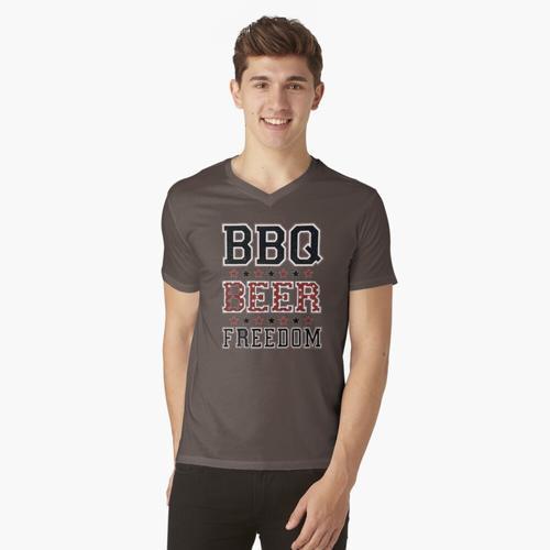 Grill Bier Freiheit, Grill, Freiheit, Grill Bier Freiheit Kerl, Grill Bier Freiheit W t-shirt:vneck