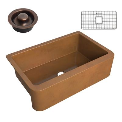 Cyprus Farmhouse Handmade Copper 33 in. 0-Hole Single Bowl Kitchen Sink in Polished Antique Copper - ANZII SK-018