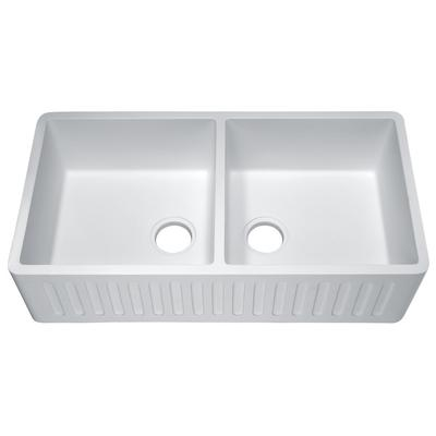 Petima Farmhouse Reversible Apron Front Solid Surface 35 in. Double Basin Kitchen Sink in White - ANZII K-AZ8323