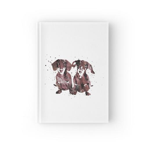 Dackel, Dackel Hund Aquarell, Dackel paar, Dackel in der Liebe Notizbuch