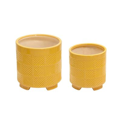 """"""" Ceramic 6/8"""""""" Abstract Footed Planters, Yellow - Sagebrook Home 14504-23"""""""