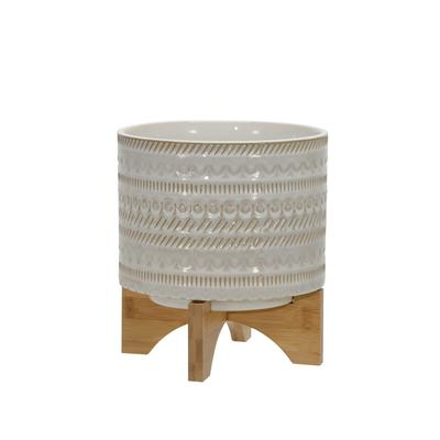 """8"""" Tribal Planter With Wood Stand, Beige - Sagebrook Home 15350-02"""