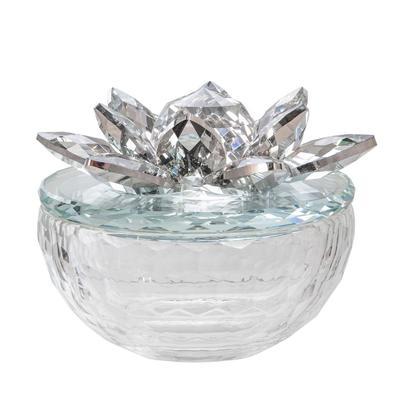 """""""Crystal Lotus 5"""""""" Trinket Jar,Silver - Sagebrook Home 14856-02"""""""