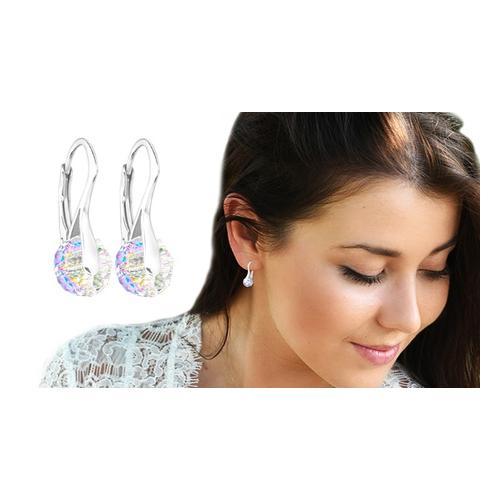 Ah! Jewellery Ohrringe mit Swarovski®-Kristallen: 2 Paar/Aurore Boreale + Clear