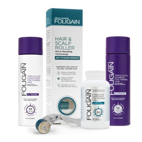 Foligain Women's Bundle - Kombinationspaket für dünner werdendes Haar für Frauen - Mit natürlichem Shampoo und Conditioner - Enthält Gerät