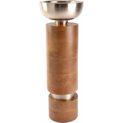 Kerzenleuchter, aus Holz und Aluminium, Ø ca. 12 cm beige Kerzenhalter Kerzen Laternen Wohnaccessoires Kerzenleuchter