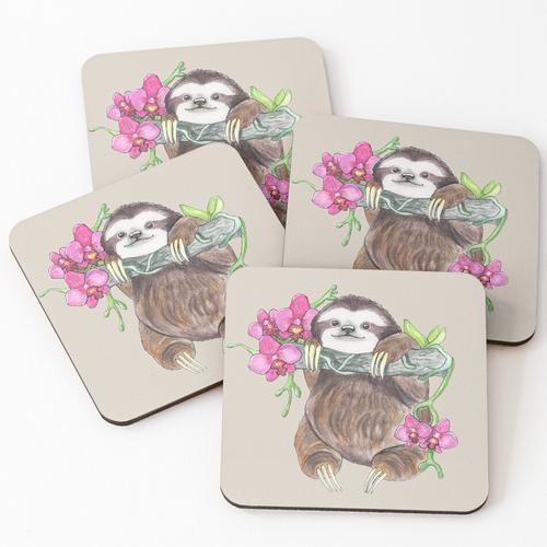 Happy Sloth mit Orchideen Untersetzer