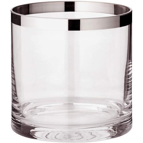 EDZARD Windlicht Molly, Laterne aus Kristallglas mit Platinrand, Kerzenhalter für Stumpenherzen, Höhe 15 cm, Ø cm farblos Kerzen Laternen Wohnaccessoires