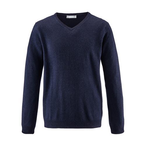 Avena Herren Kaschmir-Seide-Premium Pullover Blau