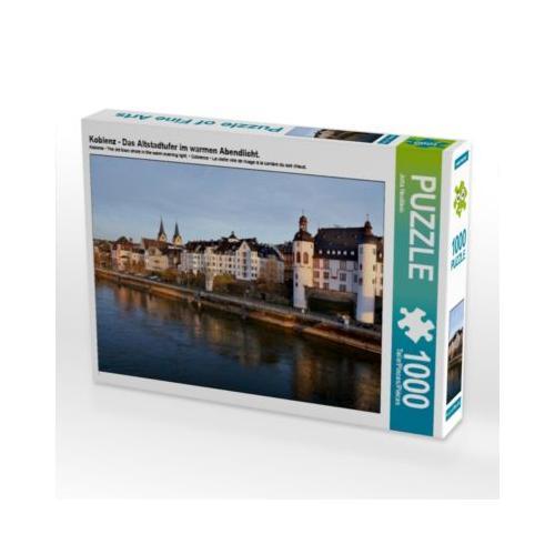 Koblenz - Das Altstadtufer im warmen Abendlicht. Foto-Puzzle Bild von Jutta Heußlein Puzzle