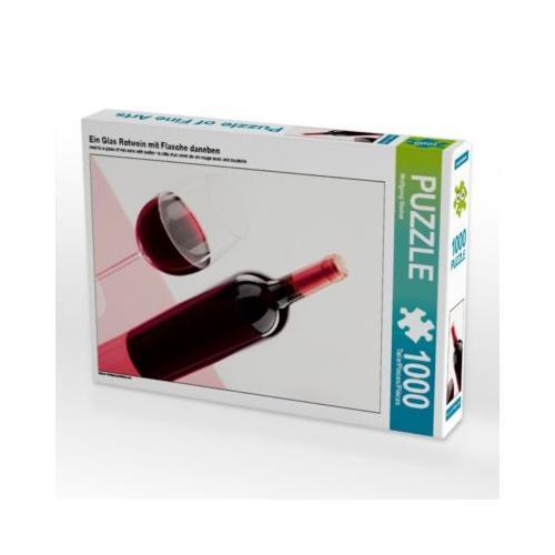 Ein Glas Rotwein mit Flasche daneben Foto-Puzzle Bild von Wolfgang Steiner Puzzle