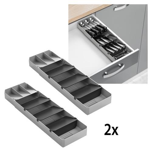 Metaltex Schubladeneinsatz, ausziehbar, für bis zu 90 Besteckteile grau Zubehör Küchenmöbel Möbel Schubladeneinsatz