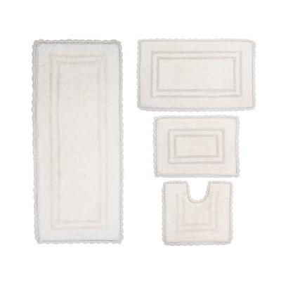 Casual Elegance 4-Pc. Bath Mat Set by Home Weavers Inc in Ivory (Size 4 RUG SET)