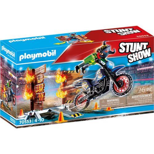 PLAYMOBIL® Stuntshow 70553 Stuntshow Motrorrad mit Feuerwand, bunt