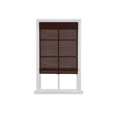 """Wide Width Cordless Woven Bamboo Roman Shade by Whole Space Industries in Dark Walnut (Size 23"""" W 64"""" L)"""