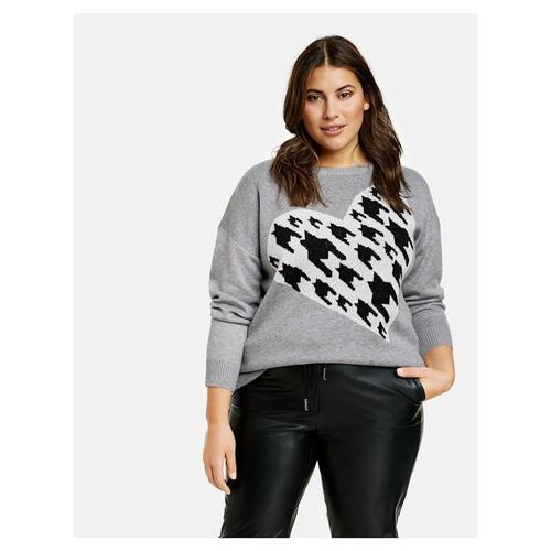 Pullover mit Hahnentritt-Herz Samoon Mid Grey gemustert