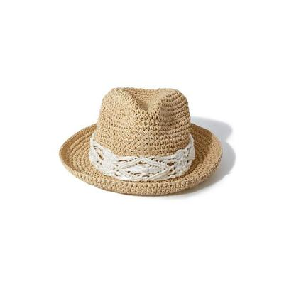 Boston Proper - Crochet Trim Fedora Hat - Natural - One Size