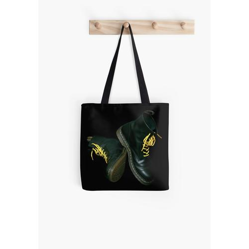 Black Doc Marten Boots All Over Print Tote Bag