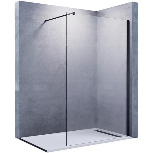 Walk In Dusche Duschwand Duschwände Duschabtrennung Schwarz 80x200cm 10mm NANO Glas mit Haltestange
