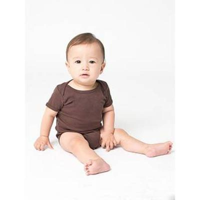 American Apparel 4001W Infant Baby Rib Short-Sleeve One-Piece in Brown size 3-6MOS | Cotton