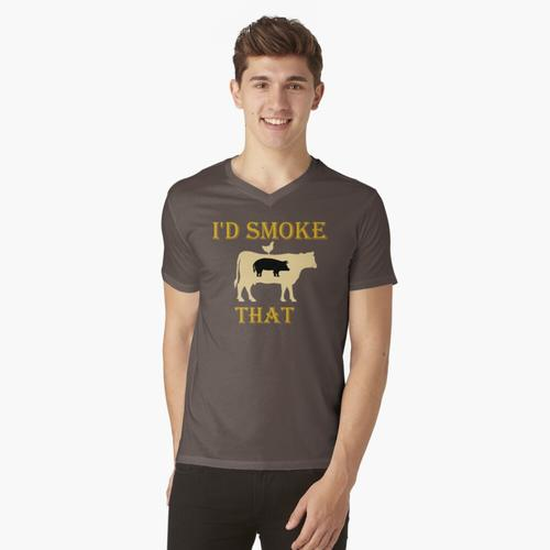 Ich würde rauchen, dass Cow Grill BBQ Smoker Grillen t-shirt:vneck