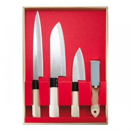 Japanisches Kochmesser-Set, 3 Messer und Abziehstein, Stahl 420J2, Holzgriff