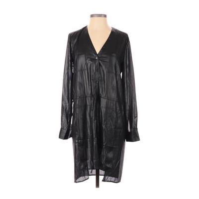 BCBGMAXAZRIA - BCBGMAXAZRIA Casual Dress - Shirtdress: Black Solid Dresses - Used - Size X-Small