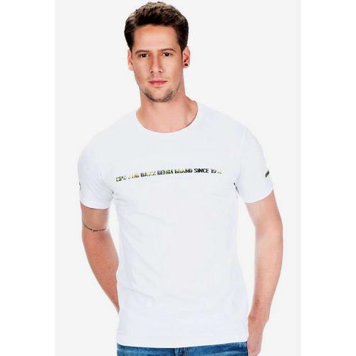 Cipo & Baxx T-Shirt mit Logo Hologramm Aufdruck