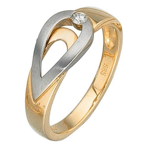 JOBO Diamantring, 585 Gold bicolor mit Diamant