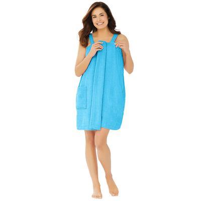 Plus Size Women's Dreams & Co. Terry Towel Wrap by Dreams & Co. in Paradise Blue (Size 34/36)