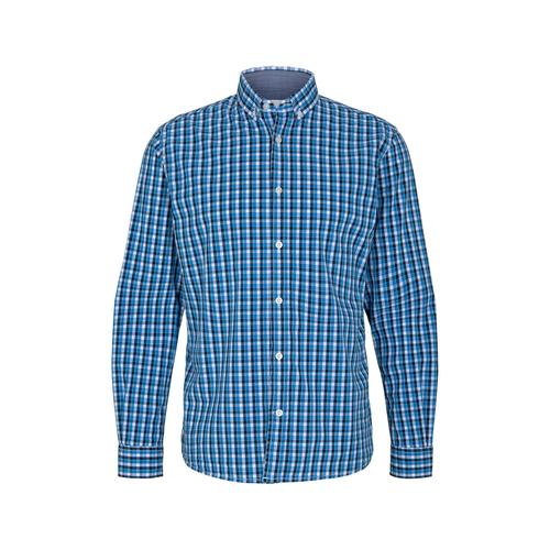 TOM TAILOR Herren Karo Stretch Hemd, blau, Gr.M