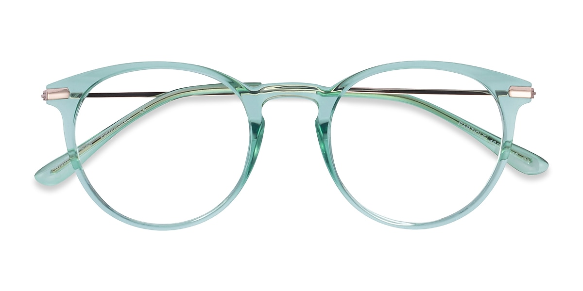 Female's Round Clear Green & Rose Gold Plastic Prescription eyeglasses - EyeBuydirect's Particle