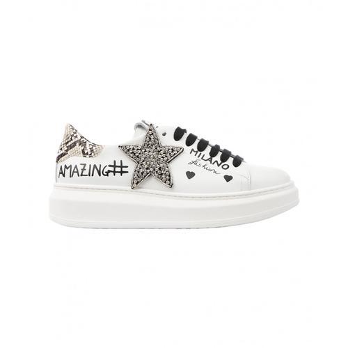Gio+ Damen Sneaker mit Applikation Weiß