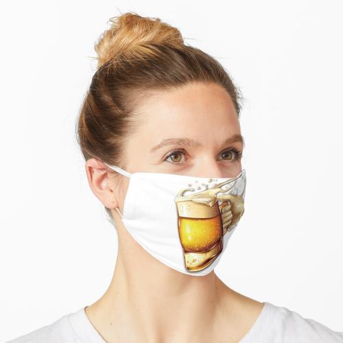 Eiskaltes Bier mit Schaum. Maske