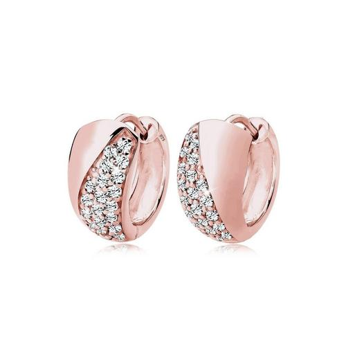 Elli Paar Creolen »Creolen Elegant Kristalle Silber«