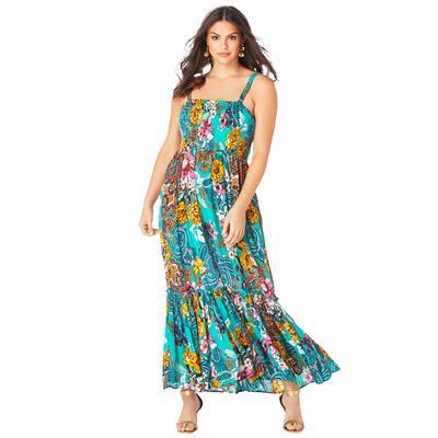 Plus Size Women's Two-In-One Maxi Dress in Crinkle by Roaman's in Emerald Paisley Garden (Size 14/16)