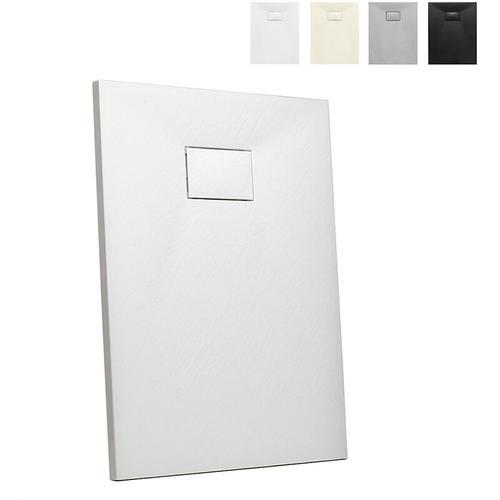 Rechteckige Duschbox aus Kunstharz auf Bodenhöhe 90x70 Stone | Farbe: Weiß