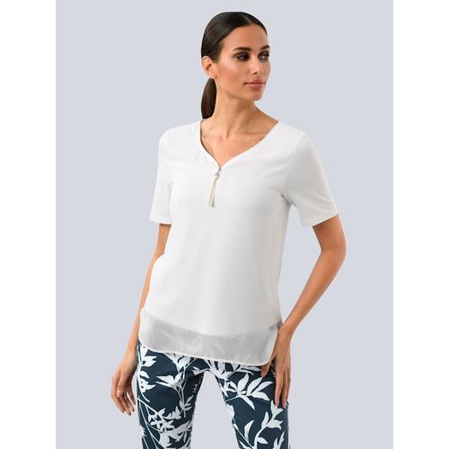 Alba Moda, Bluse aus fließender Ware, weiß