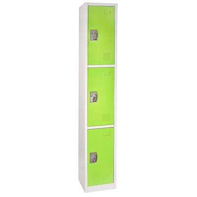 """Alpine Industries 629-203-GRN Three Section Locker w/ (3) Hooks - 12""""W x 12""""D x 72""""H, Steel, Green"""