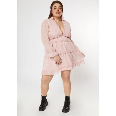 Rue21 Womens Plus Size Pink Ditsy Ruffled Deep V Tiered Dress - Size 3X