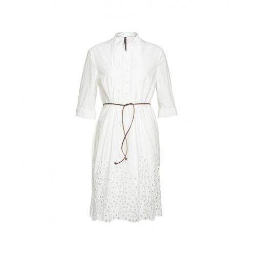 Manila Grace Damen Kleid mit Stickerei Weiß