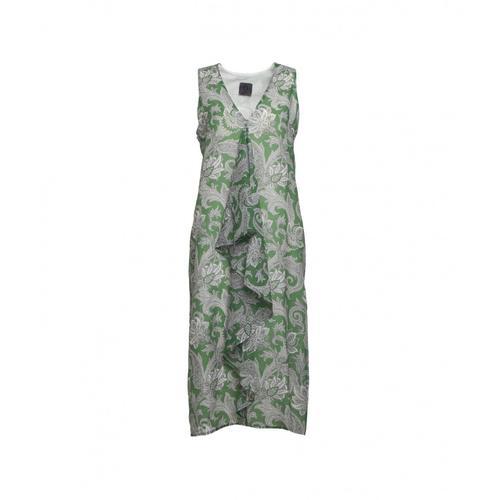 Oblo Unique Damen Kleid mit Jabot Grün