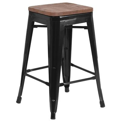 """Flash Furniture CH-31320-24-BK-WD-GG 24"""" Counter Height Backless Bar Stool w/ Wood Seat - Steel Frame, Black"""
