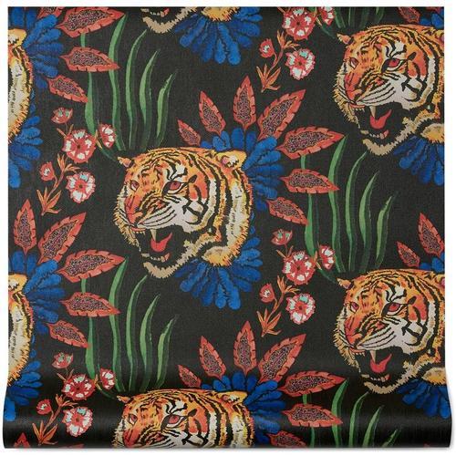 Gucci Tapete mit Tiger-Blatt-Print