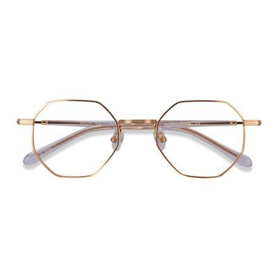 Unisex Geometric Gold Clear Metal Prescription eyeglasses - EyeBuydirect's Music